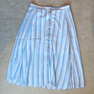 CottonON Cabana Stripe Button Front Skirt Lt Blue